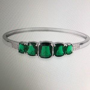 Jewelry - SIMULATED EMERALD WHITE CZ BANGLE